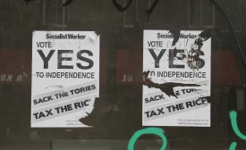 Pro-independence flyers in Scotland