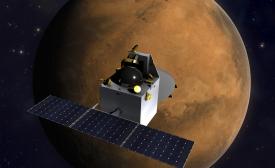 India's Mars Orbiter Mission spacecraft over Mars.