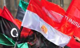 Flags of Libya, Egypt, Tunisia