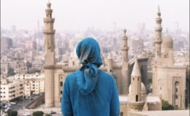 Hijabi in front of a mosque in Cairo