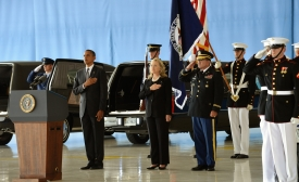 Obama and Clinton at Transfer of Remains Ceremony for Benghazi attack victims Sep 14, 2012