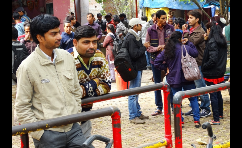 Students outside the cafe at Banaras Hindu University