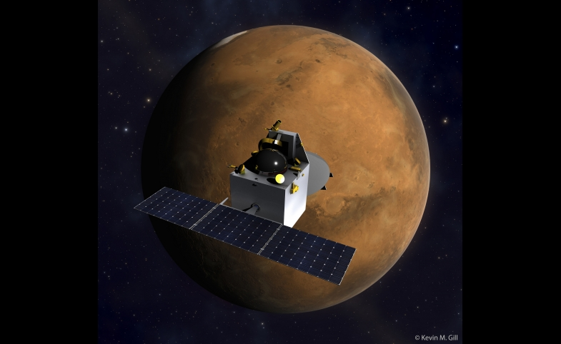 India's Mars Orbiter Mission spacecraft over Mars.