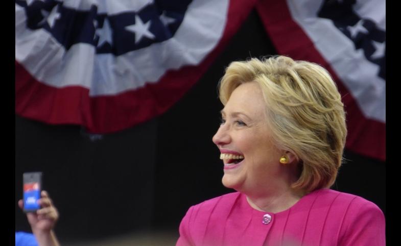 Hillary Clinton at the post-DNC rally