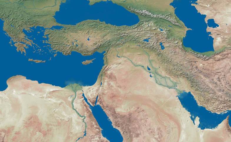 Selection of high-res relief world map via shadedrelief.com