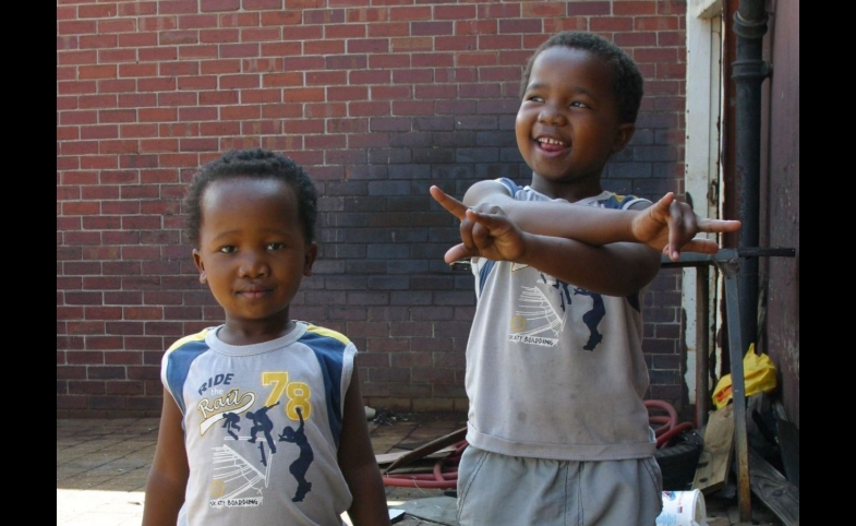 Young boys at a market in Cape Town, South Africa