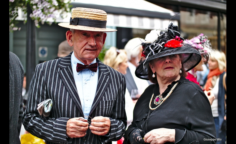 An Irish couple celebrate Bloomsday in Dublin.