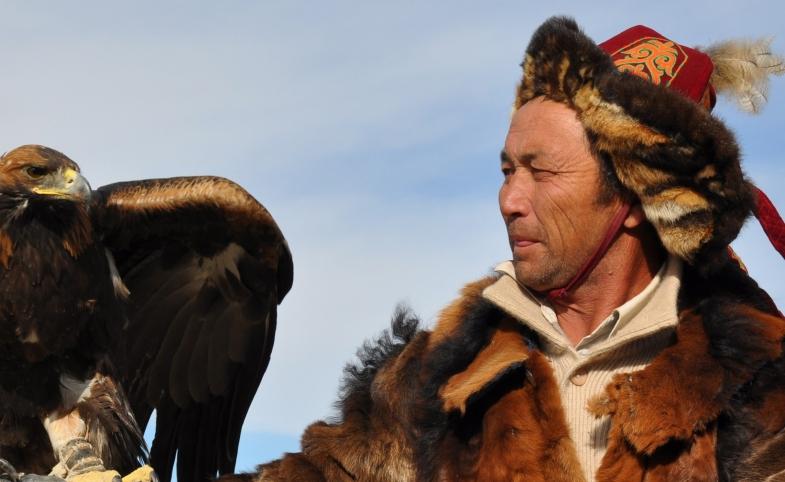 Kazakh eagle hunter in Altai Tavan Bogd National Park, Mongolia.