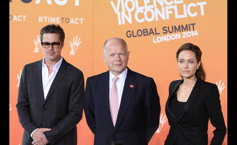 Foreign Secretary William Hague with UN Special Envoy Angelina Jolie and Brad Pitt