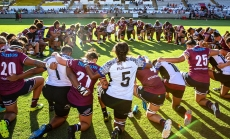 Fiji's national women's rugby union team, the Fijiana, joining the Australian Super W team, the Queensland Red's in a friendly tour of Australia in early 2020. (Credit: Oceania Rugby)