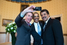 An American selfie with Barack Obama, Neil DeGrasse Tyson, and Bill Nye
