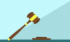 Gavel with Green Background