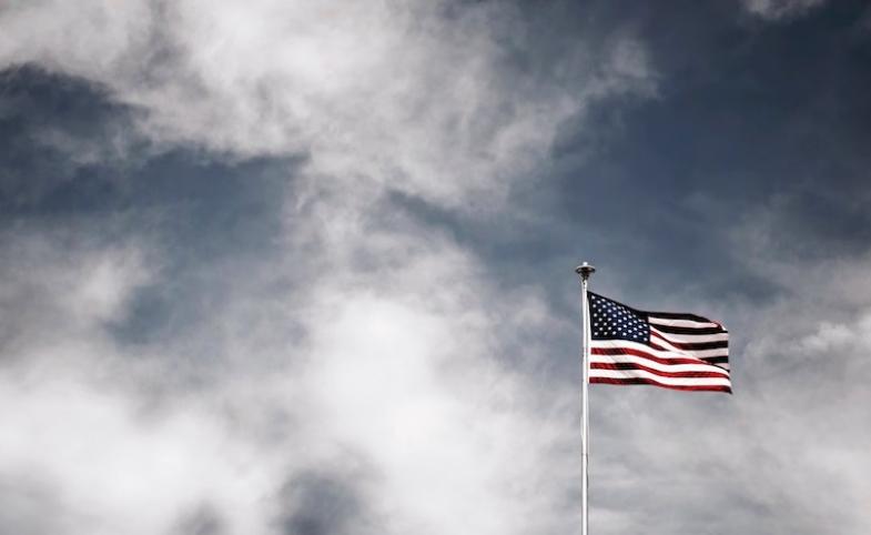 American Flag Cloudy