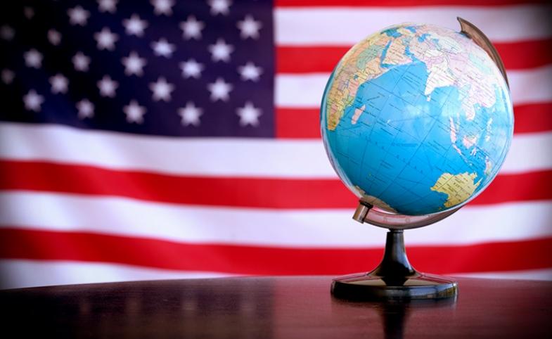 Globe American Flag