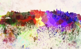 Edinburgh Skyline in Watercolor Background, by Paul Rommer
