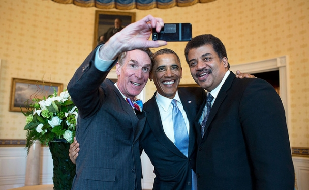 President Barack Obama poses for a selfie with Bill Nye, left, and Neil DeGrasse Tyson in the Blue Room prior to the White House Student Film Festival, Feb. 28, 2014.