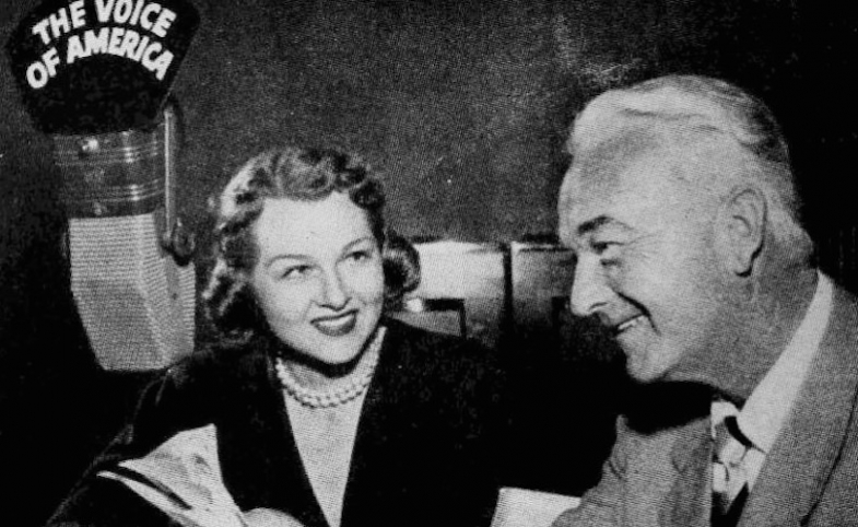 Photo of Jo Stafford with guest William Boyd AKA Hopalong Cassidy on her Voice of America radio show.