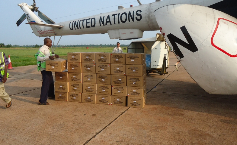 A UN airplane delivers supplies to the Mbandaka airport to help fight Ebola