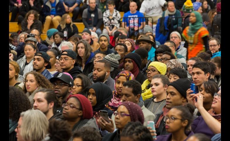 Crowd at NOC #BlackForumMN with Bernie Sanders