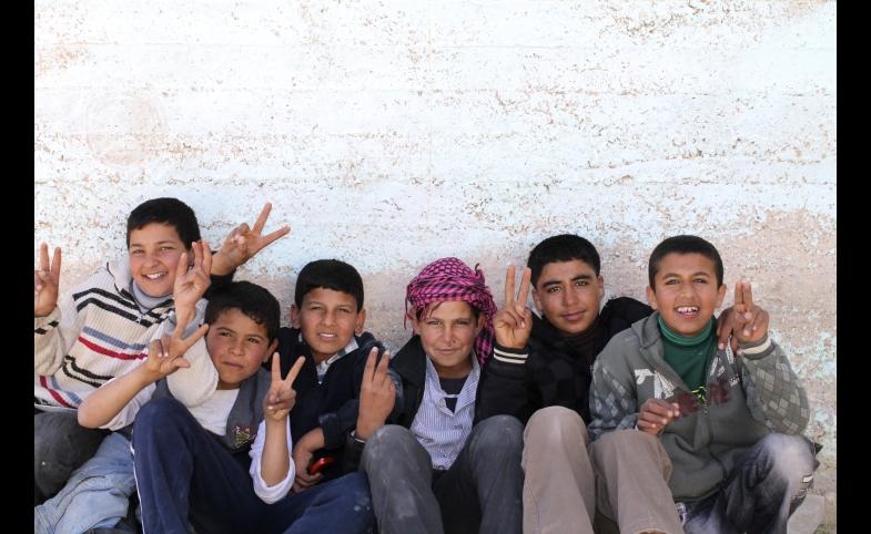 Refugees at the Zaatari Camp in Jordan