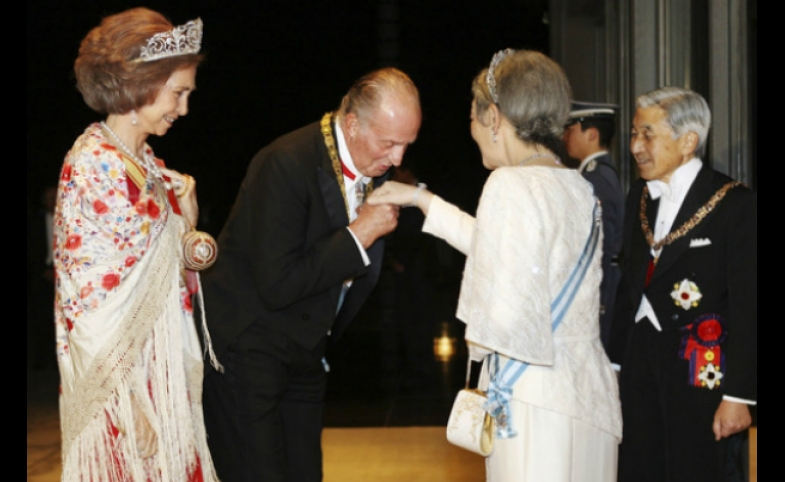 King Juan Carlos and Queen Sofia visiting Emperor Akihito in Japan
