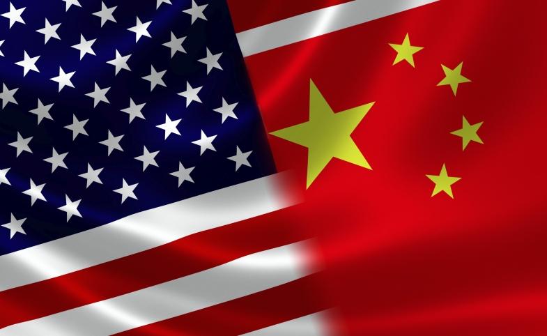 Merged Flag of China and USA