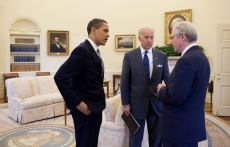 Christopher R. Hill with Barack Obama and Joe Biden