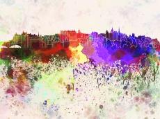 Edinburgh Skyline in Watercolor Background, by Paul Rommer