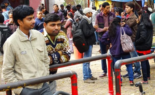Students outside the cafe at Banaras Hindu University. Photo reprinted courtesy Adam Jones, via Flickr